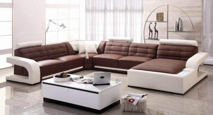 moderne sofas weiss braun leder wohnzimmer ideen
