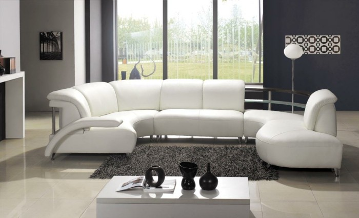 moderne sofas weiss leder modulcouch hochflor teppich wohnzimmer ideen