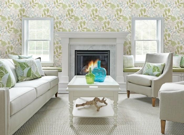 moderne sofas weisse wohnzimmermoebel florale tapete