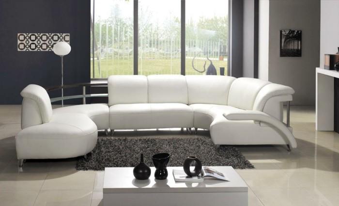moderne sofas weisses sofa graue waende bodenfliesen