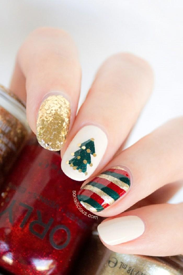 nageldesign ideen winter weihnachtliche fingernaegel bilder