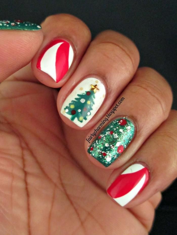 nageldesign ideen winter weihnachtliche fingernaegel design