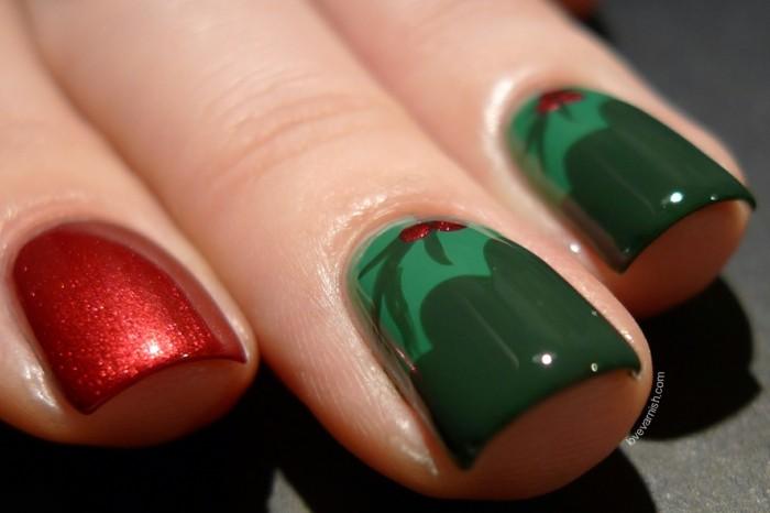 nageldesign ideen winterweihnachtliche fingernaegel gruen rot