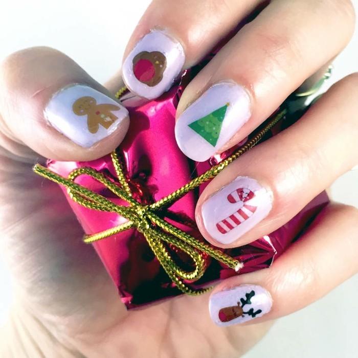 nageldesign ideen winter weihnachtliche fingernaegel motive