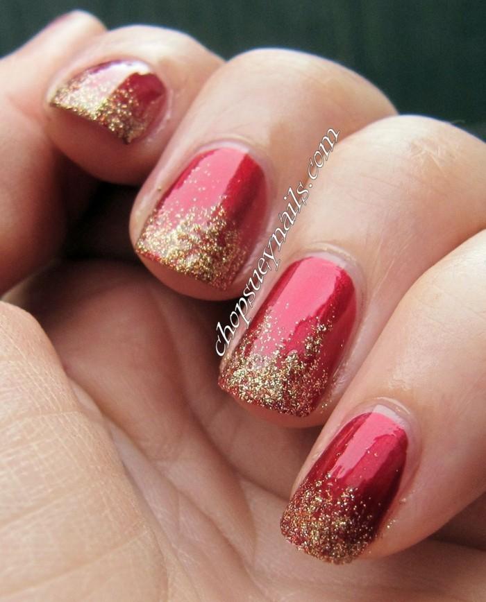nageldesign ideen winter weihnachtliche fingernaegel rot gold