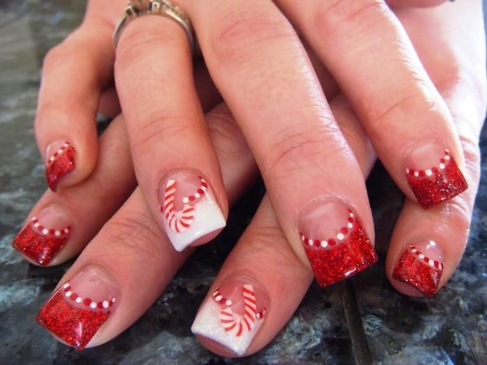 nageldesign ideen winter weihnachtliche fingernaegel rot weiss