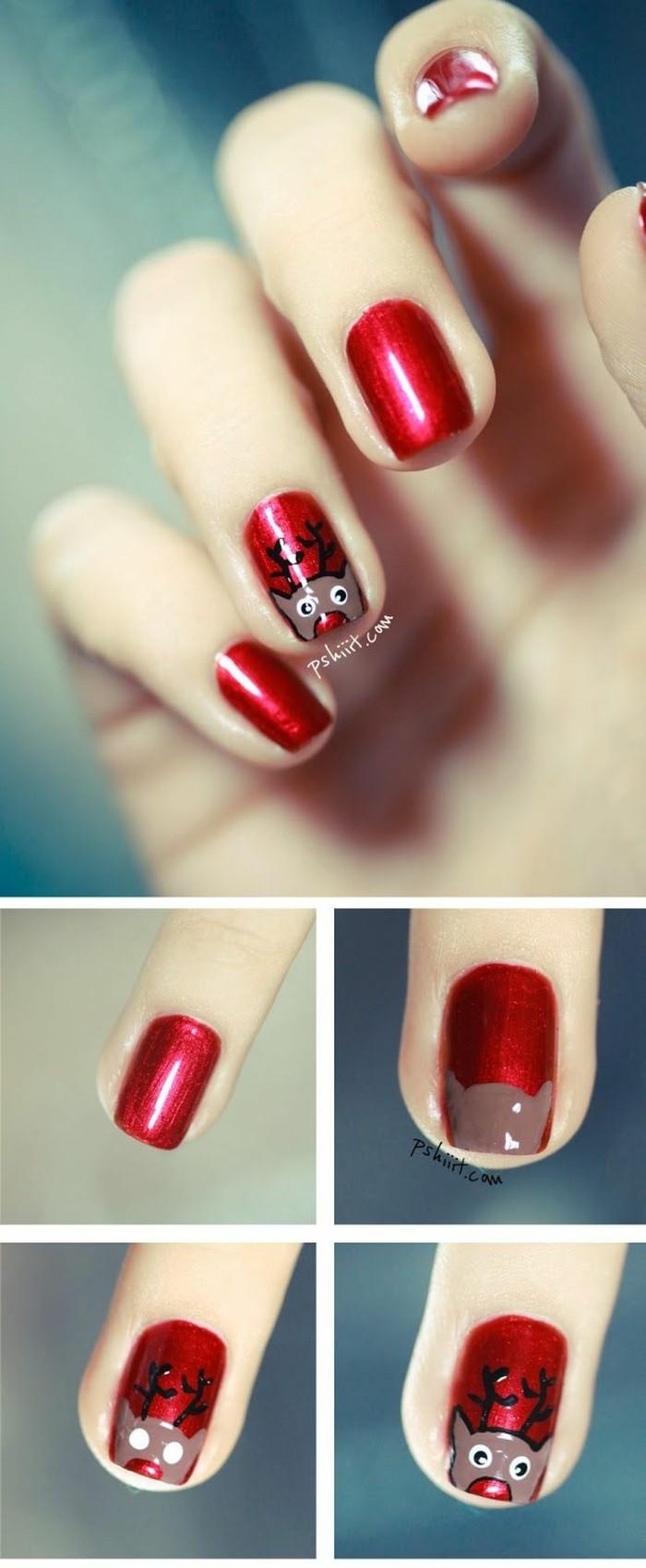 nageldesign ideen winter weihnachtliche fingernaegel rot