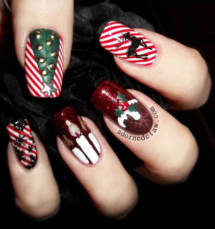 nageldesign ideen winter weihnachtliche naegel fotos