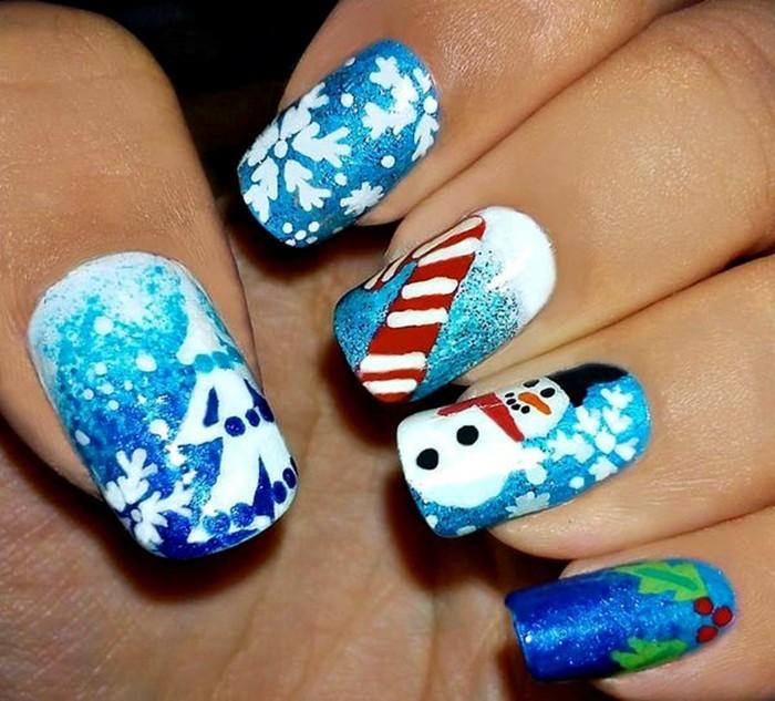 nageldesign ideen winter weihnachtliche naegel muster