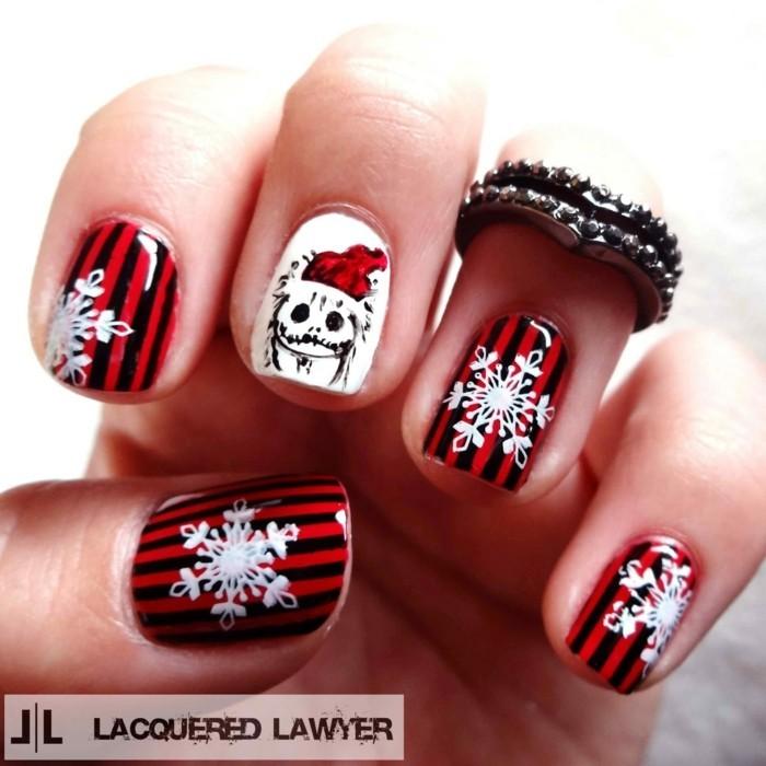nageldesignm ideen winter weihnachtliche streifengruen rot