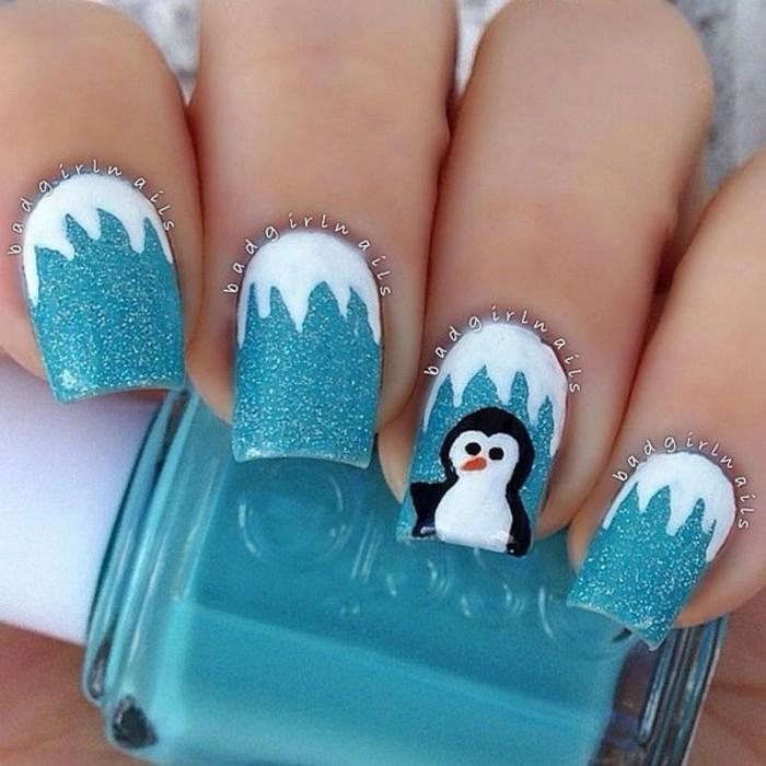 nageldesign weihnachten muster naegel muster pinguin