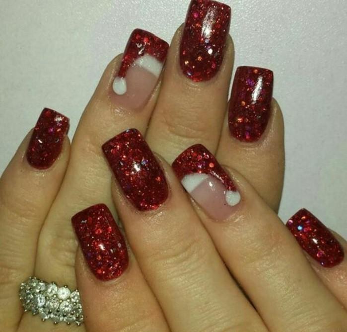 nageldesign weihnachten muster nailart muster rote fingernaegel