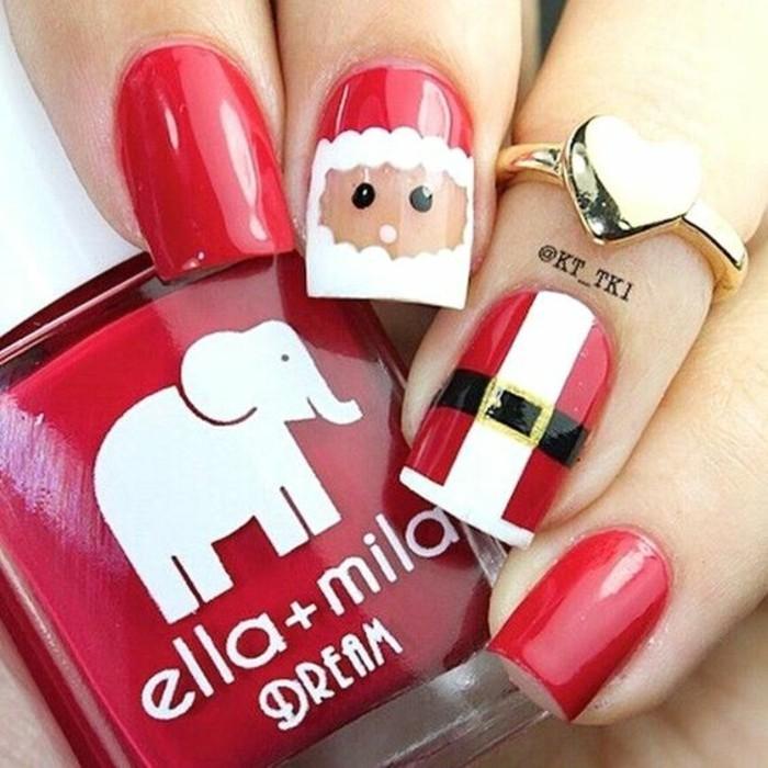 nageldesign weihnachten weihnachtliche naegel rote fingernaegel weihnachtsmann