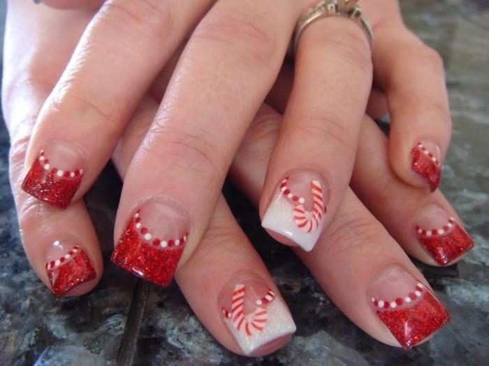 nageldesign weihnachtsmotive rote weihnachtliche naegel muster