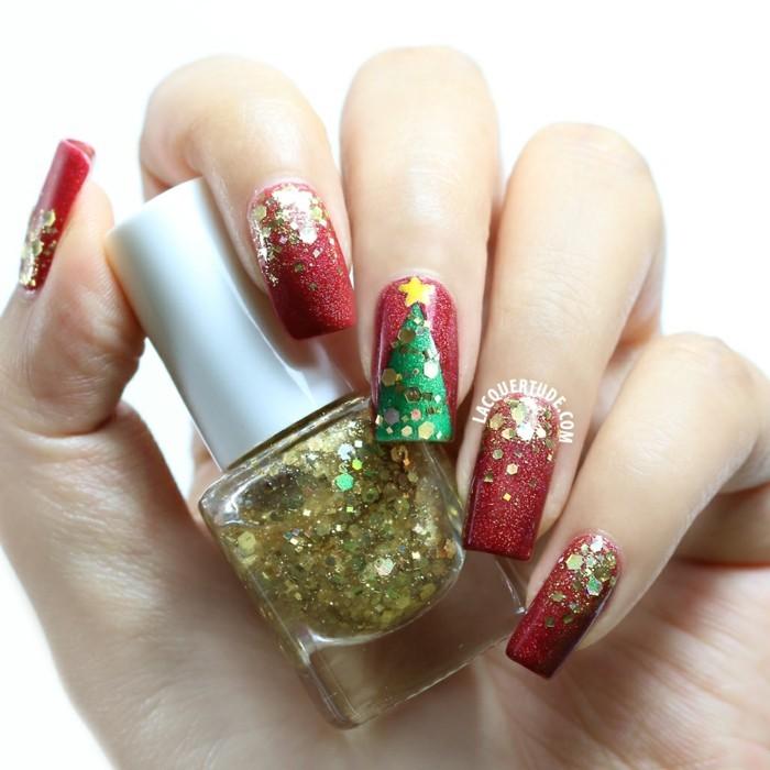 nageldesign weihnachtsmotive weihnachtliche naegel glitter