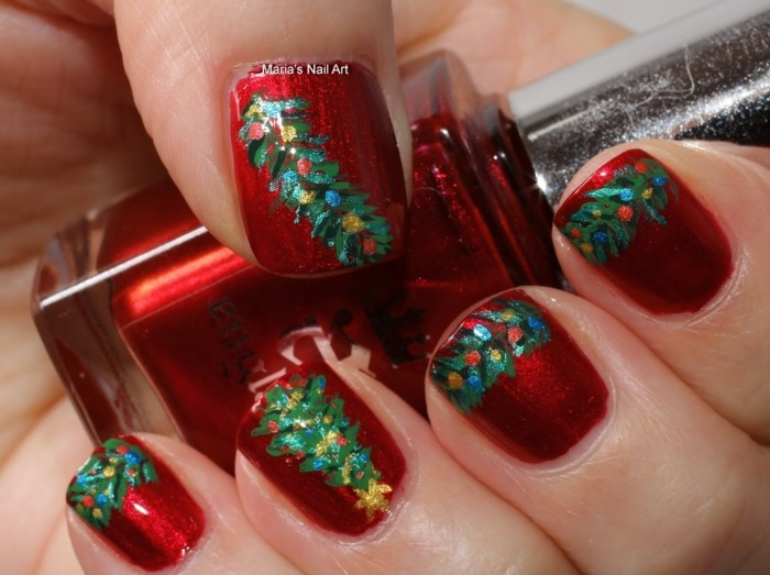 nageldesign winter bilder festliche fingernaegel ideen