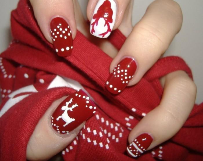 nageldesign winter weihnachtsmotive weihnachtliche fingernaegel rot