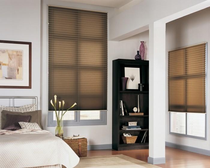plissee fensterrollos faltstore schlafzimmer sichtschutz sonnenschutz