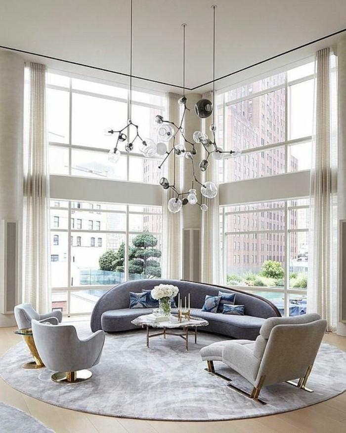 schoene sofas ausgefallenes desing runder teppich moderne beleuchtung