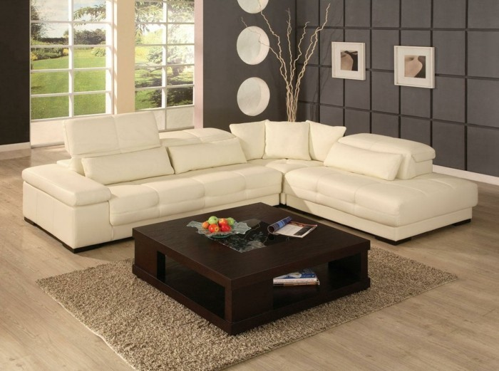 schoene sofas cremes ecksofa brauner couchtisch teppich