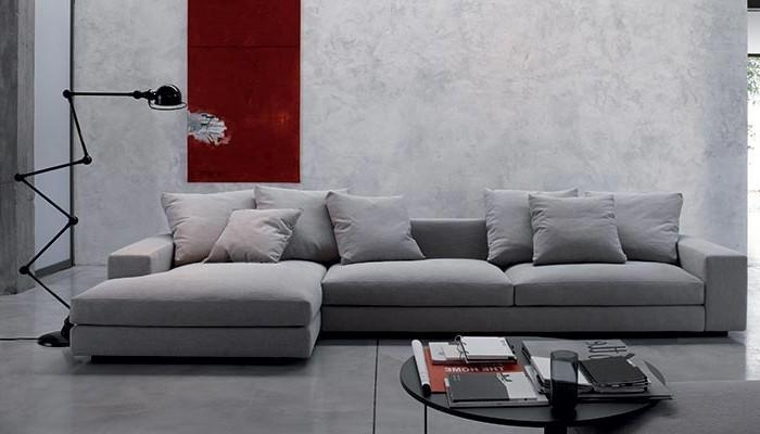 schoene sofas hellgraues ecksofa moderne stehlampe