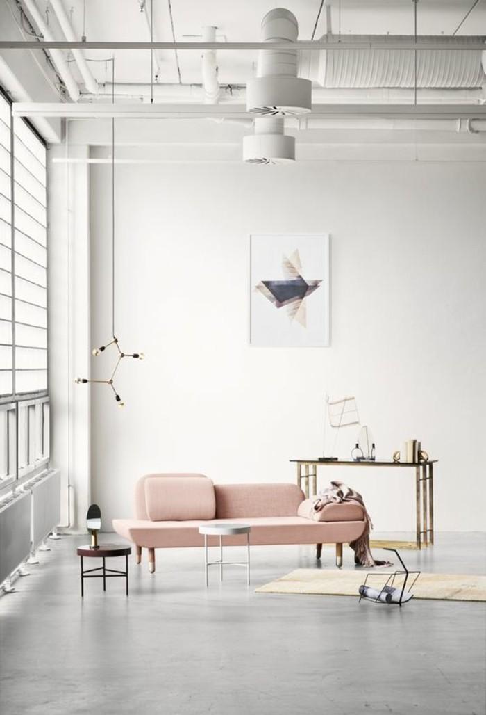schoene sofas hellrosa design haengelampe teppichlaeufer