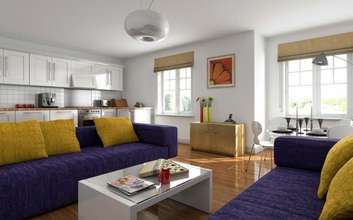 schoene sofas lila sofas gelbe dekokissen weisser couchtisch