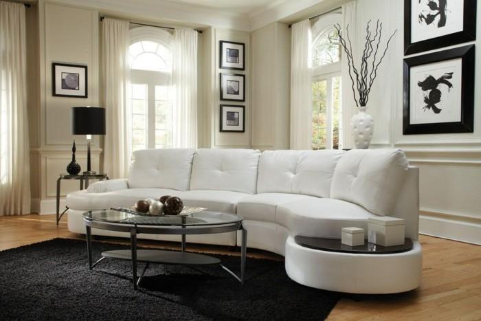 schoene sofas weiss schick schwarzer teppich