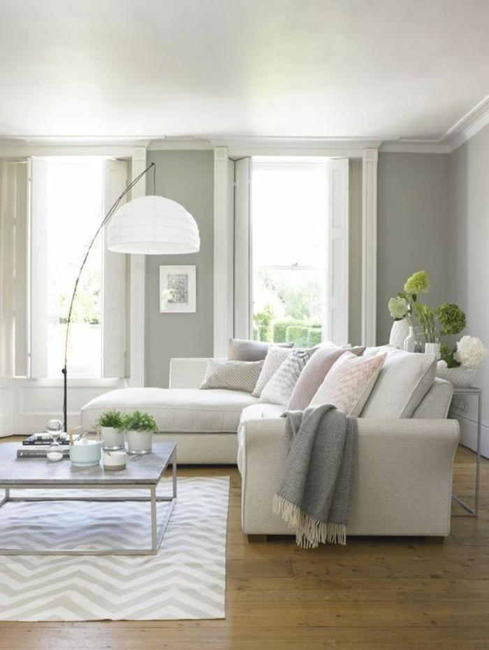 schoene sofas weisses ecksofa teppich graue waende