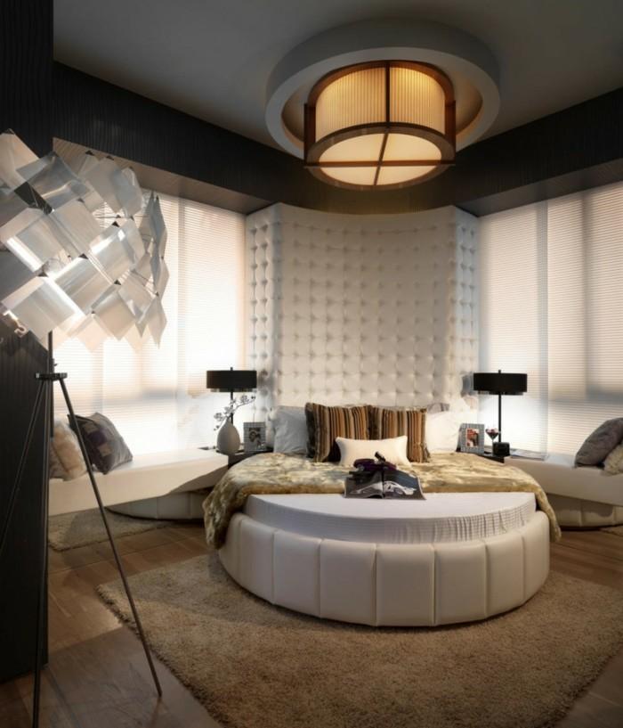 schlafzimmergestaltung braune farbtoene rundes bett