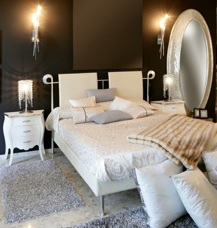 schlafzimmergestaltung dunkle wandfarbe hellgraue teppiche