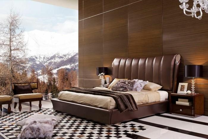 schlafzimmergestaltung luxurioeses bettkopfteil cooler teppich