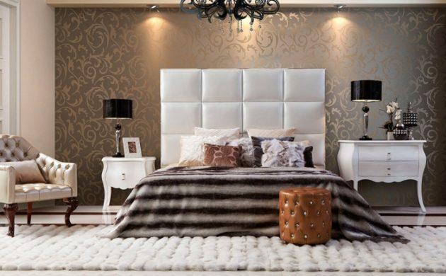 schlafzimmergestaltung-luxurioeses-interieur-tapete-florales-muster-heller-teppich