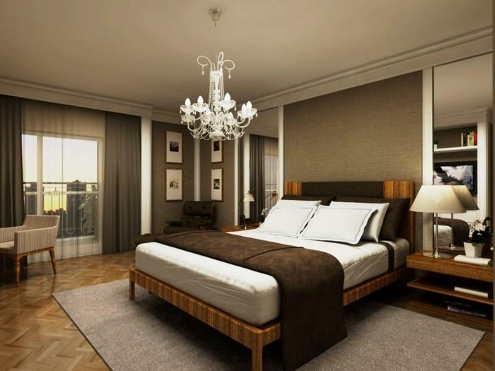 schlafzimmergestaltung schoener leuchter grauer teppich