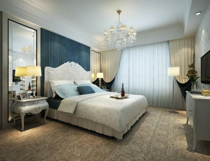 schlafzimmergestaltung schoenes wanddesign grosser spiegel teppichboden