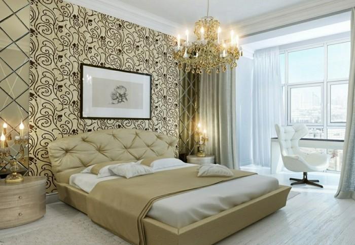 schlafzimmergestaltung stilvolles bettkopfteil schoenes wanddesign