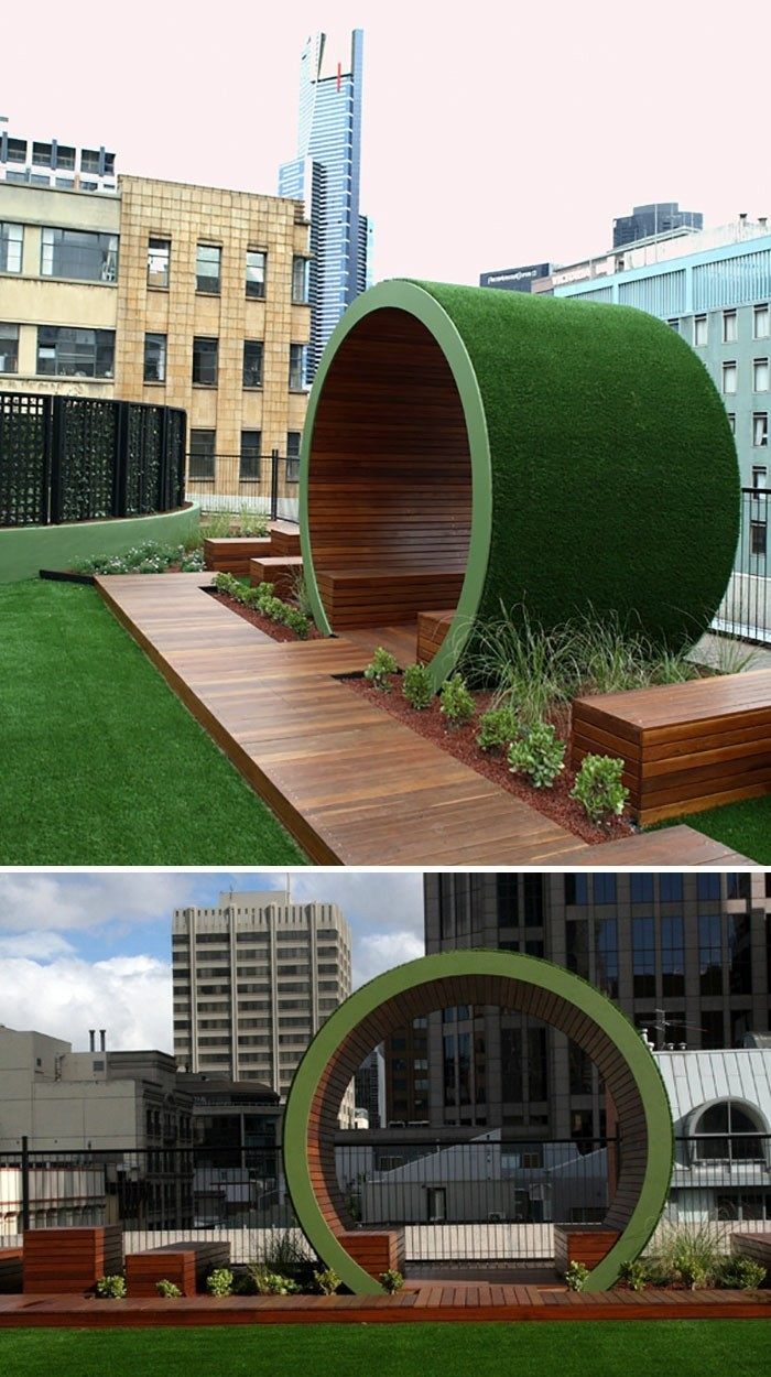 sitzbaenke kreatives design naturnah pflanzen holz