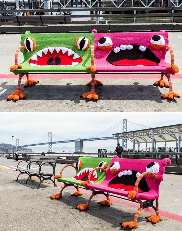 sitzbank ideen stadtbaenke farbig lustig ferry plaza ca