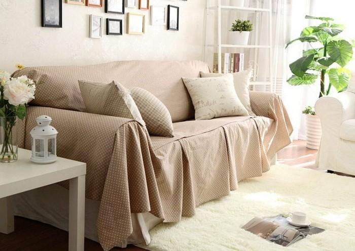 sofa bezug modern kariert wohnzimmer blumendeko