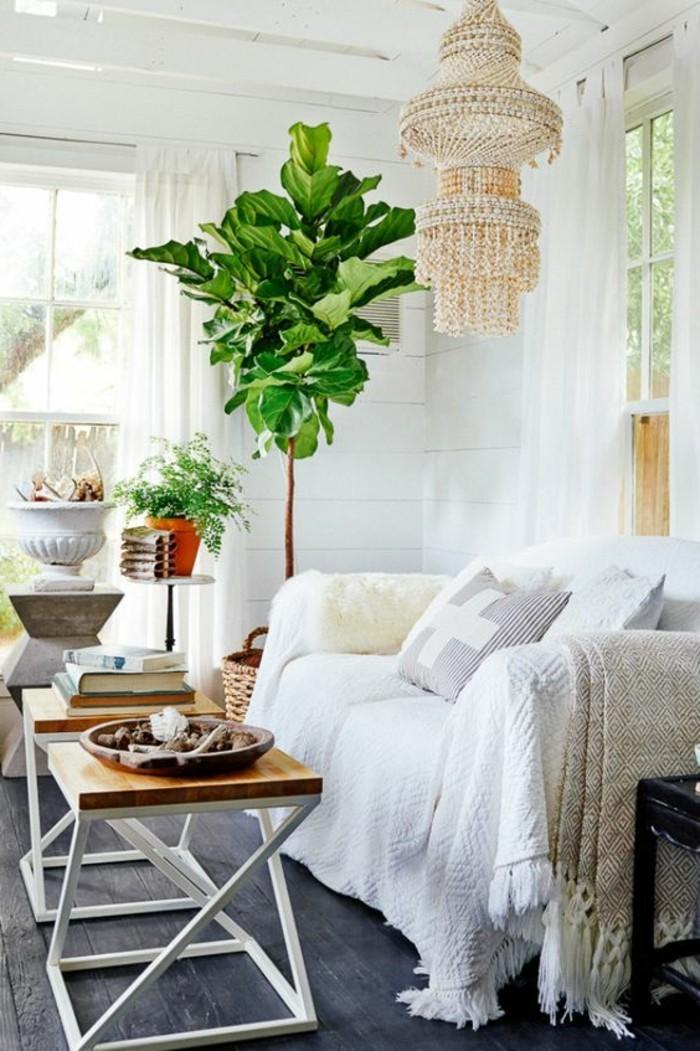 sofa bezug weiss gemuetlich pflanzen holzboden