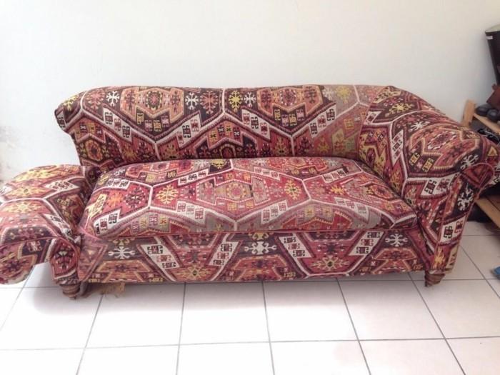 sofabezug tiere schick patchwork rot polster auflagen jeans canvas 2