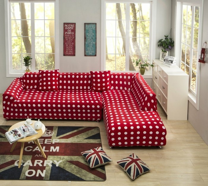 sofabezug tiere schick patchwork rot polster auflagen jeans canvas rot gepunktet