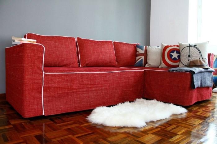 sofabezug tiere schick patchwork rot auflagen jeans canvas
