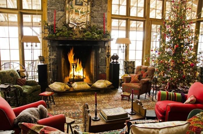 Weihnachten Dekorieren Wohnideen Wohnzimmer Kamin Muster Steinwand