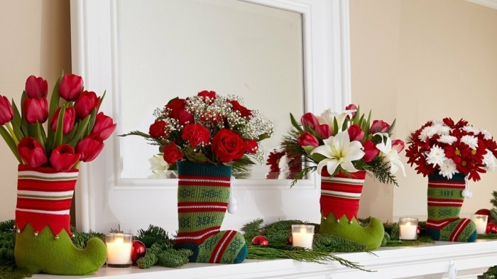 weihnachtsdeko diy ideen gestrichte uebertoepfe vasen blumen tulpen rosen