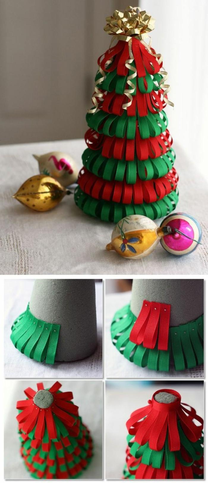 weihnachtsdeko diy ideen stoffbaender weihnachtsbaum basteln