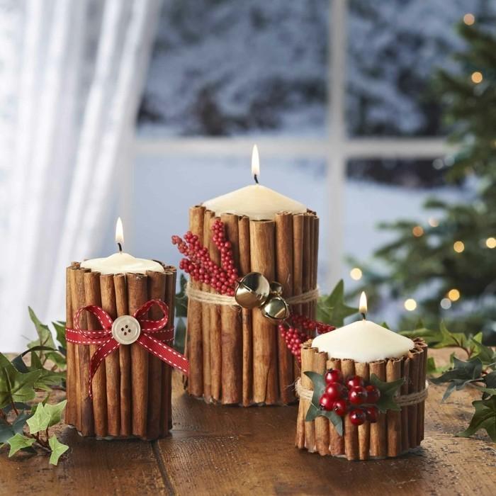 weihnachtsdeko diy ideen stumpenkerzen zimtstangen weihnachten