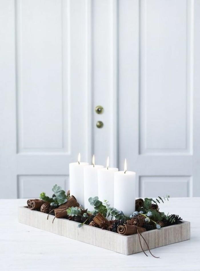 weihnachtsdeko diy ideen tischdekoration weisse stumpenkerzen adventsdeko