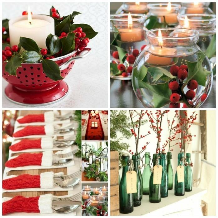 weihnachtsdeko diy ideen upcycling kuechensieb kerzen glasflaschen