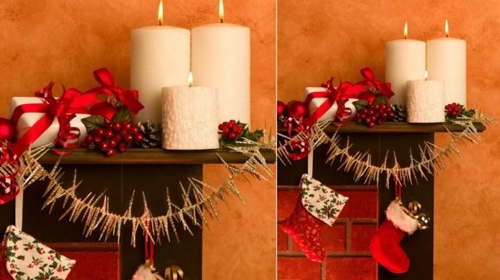 weihnachtsdeko diyideen weisse kerzen weihnachtsschmuck kaminsims